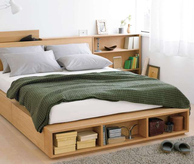 Mujis Large Double Light Ash Bed Has Two Large Storage Drawers And Can Be Custom