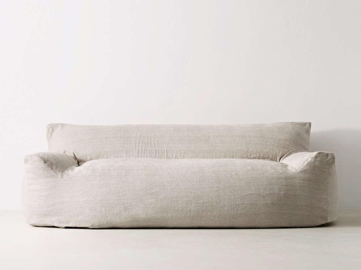 restoration hardware linen sofa craigslist brown leather sofas on gumtree tailor bench seat