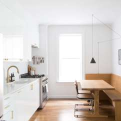 Custom Kitchen Booth Island With Bar Seating Steal This Look A Semi In Brooklyn S Sunset Park The Galley Style Has Ikea Components On One Side And Oak