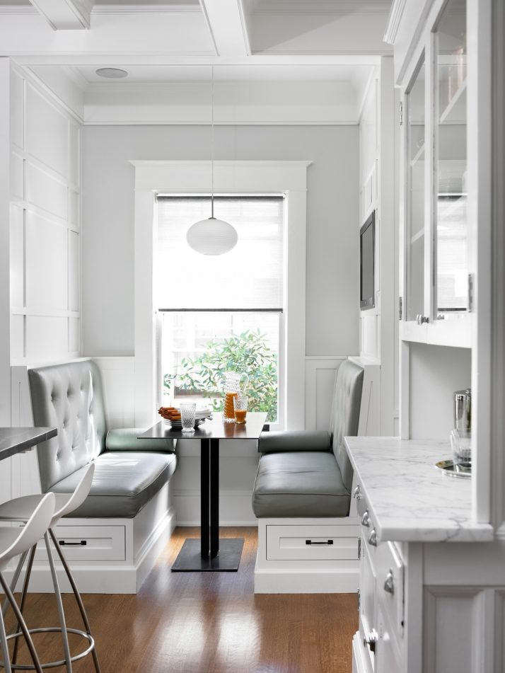 kitchen booths hood insert trend alert the new booth 10 favorites remodelista a leather dining with built in storage designed by peachtree architects atlanta from