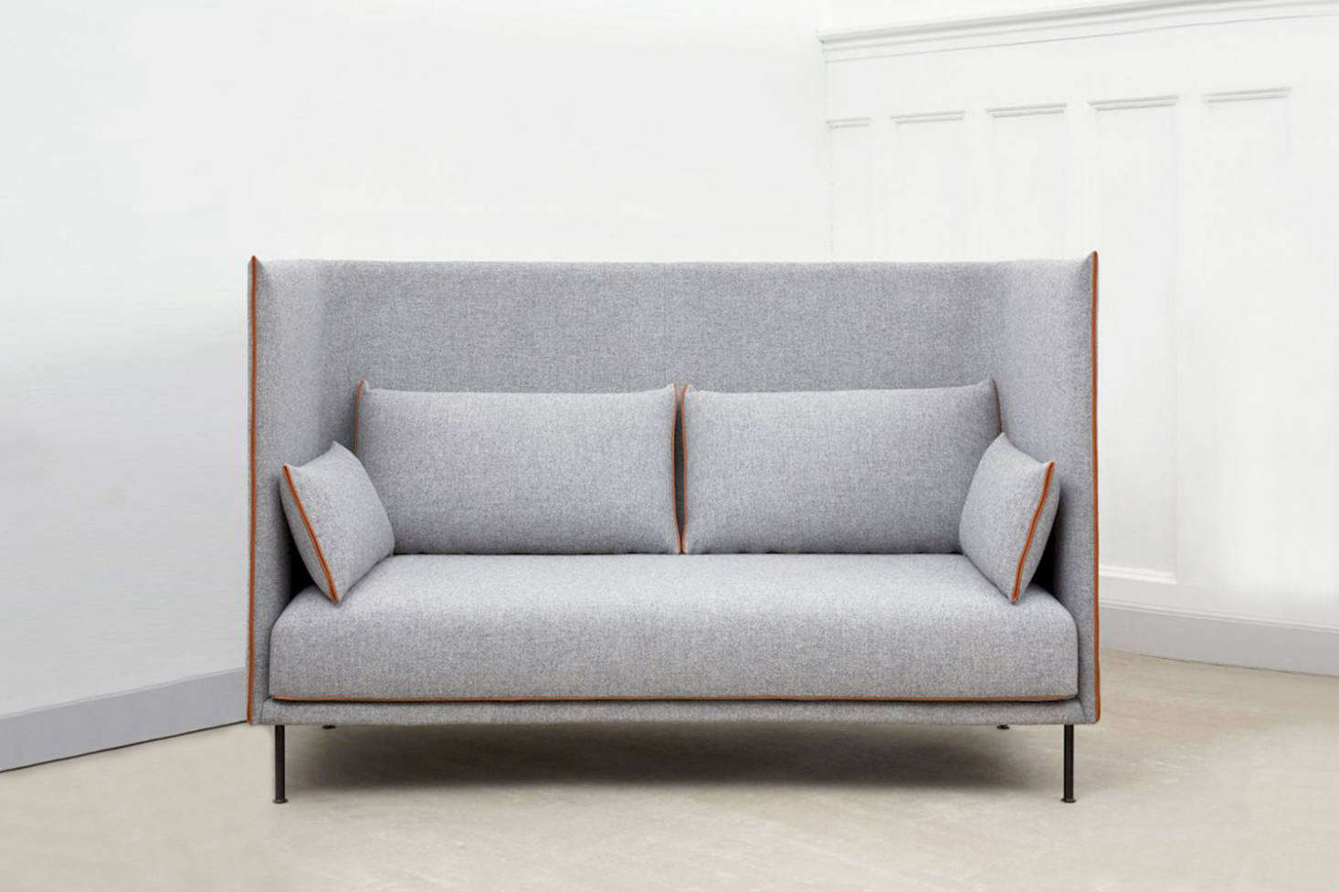 hay sofa kvadrat ashley furniture chocolate 10 easy pieces high back sofas remodelista the silhouette backed is made with a fiberglass shell and oak frame