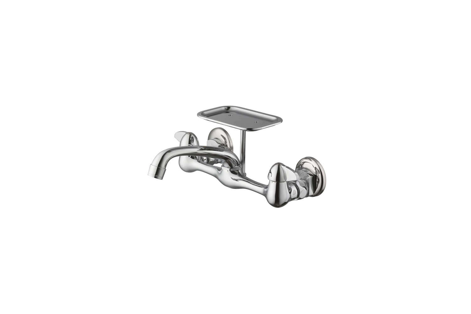 Glacier Bay 2 Handle Wall Mount Kitchen Faucet With Soap Dish