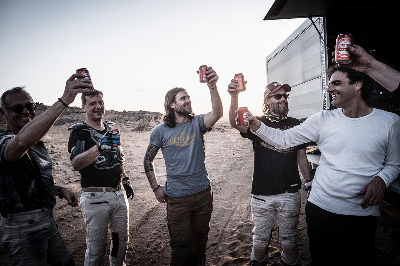 Scram Africa 2019 riders toasting