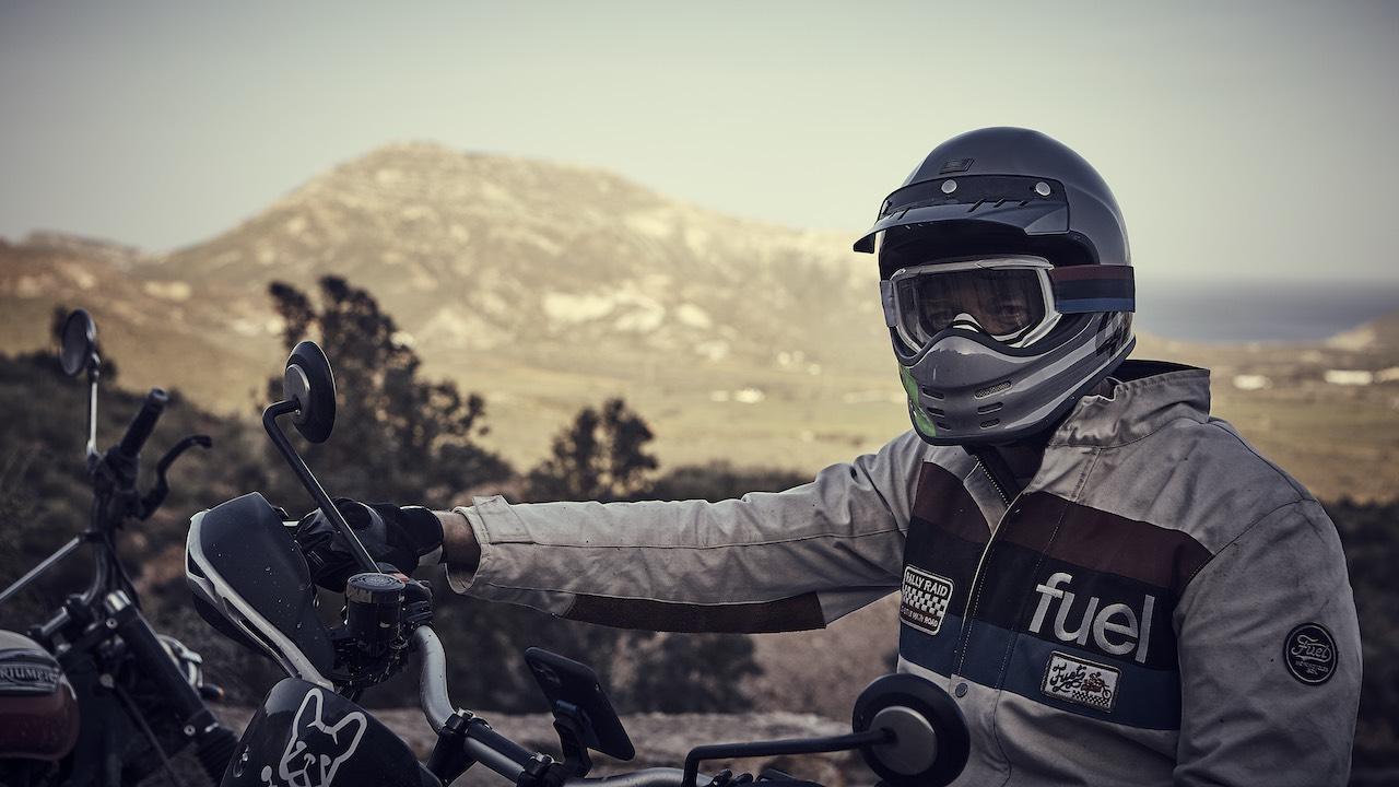 Rider wearing white Fuel Rally Raid Motorcycle Jacket