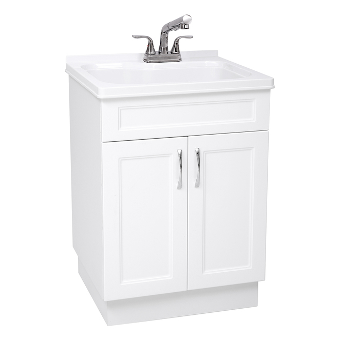laundry cabinet sink and faucet 24 x 21 x 34 in white