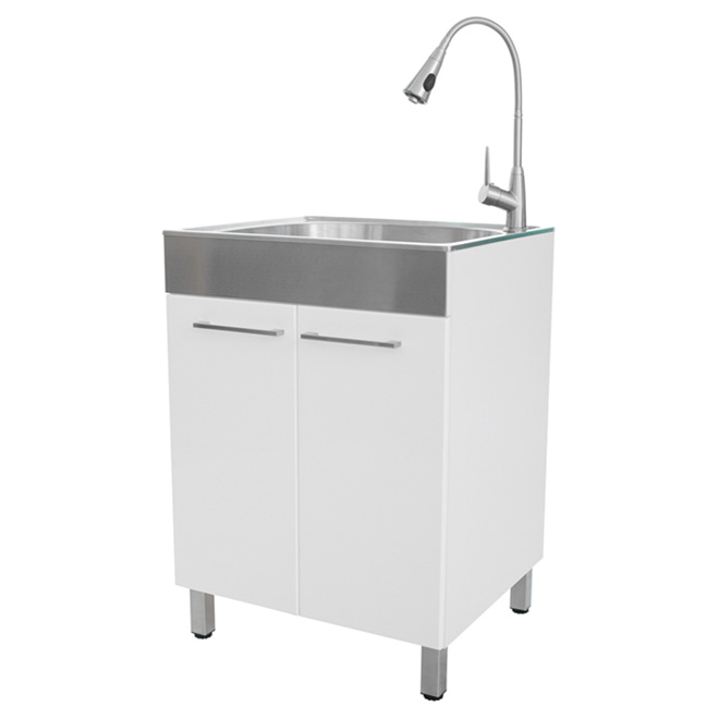 westinghouse laundry tub with faucet kit melamine 24 in x 33 85 in gloss white