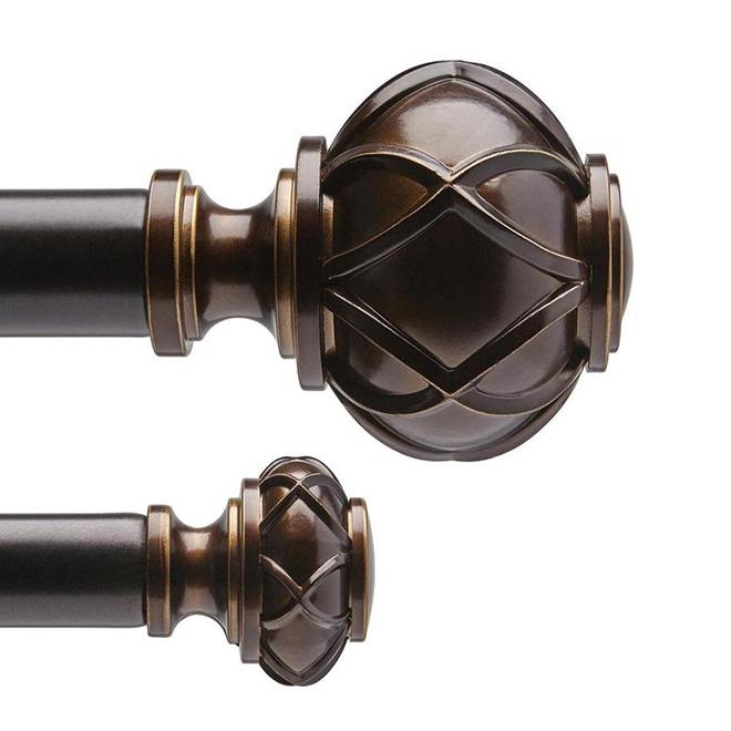 tringle a rideaux double en acier 72 a 144 bronze