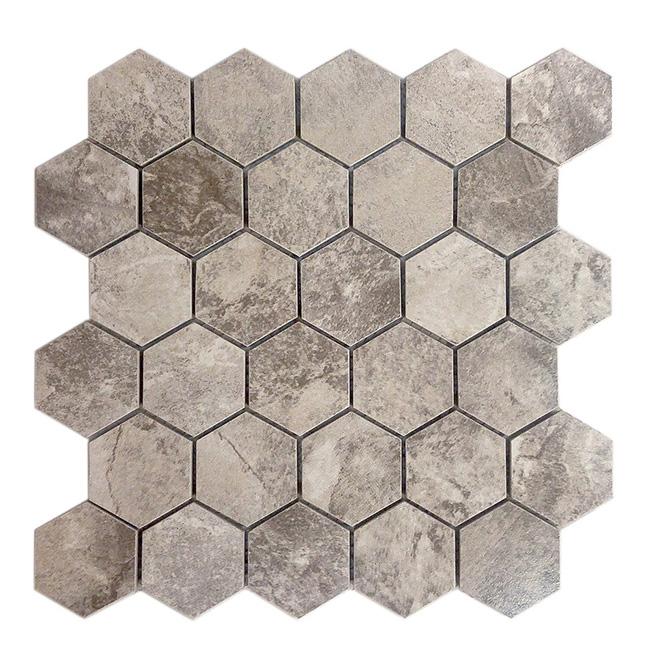 mosaic hexagon ceramic tile 12 x 12 10 box storm grey