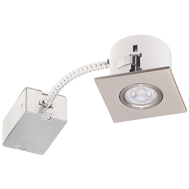 recessed light 7w led 3 3 8 square brushed steel