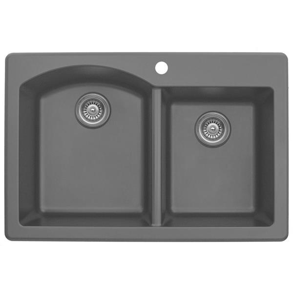 gray kitchen sink liquidation cabinets karran 1 2 33 quartz qt610gr reno depot