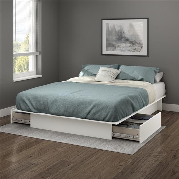 lit plateforme avec tiroirs step one blanc grand lit