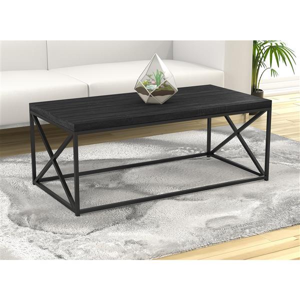 table de salon bois gris et base en metal noir 44 l