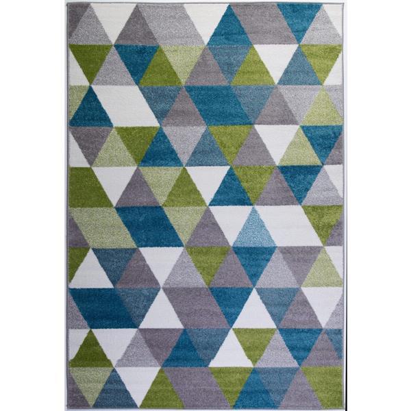 tapis geometrique triangle empire 8 x 11 bleu blanc