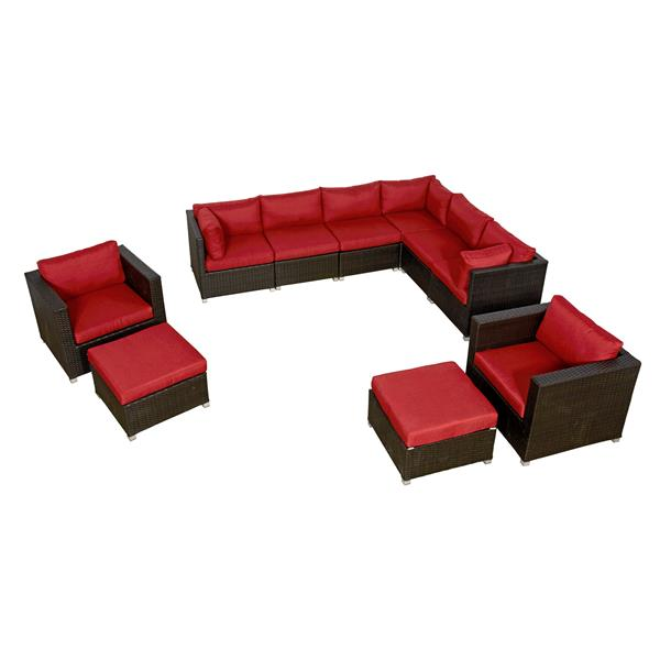 think patio innesbrook conversation set with cushions red 10 piece