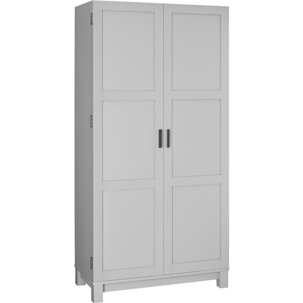 armoire de rangement carver 2 portes gris 64