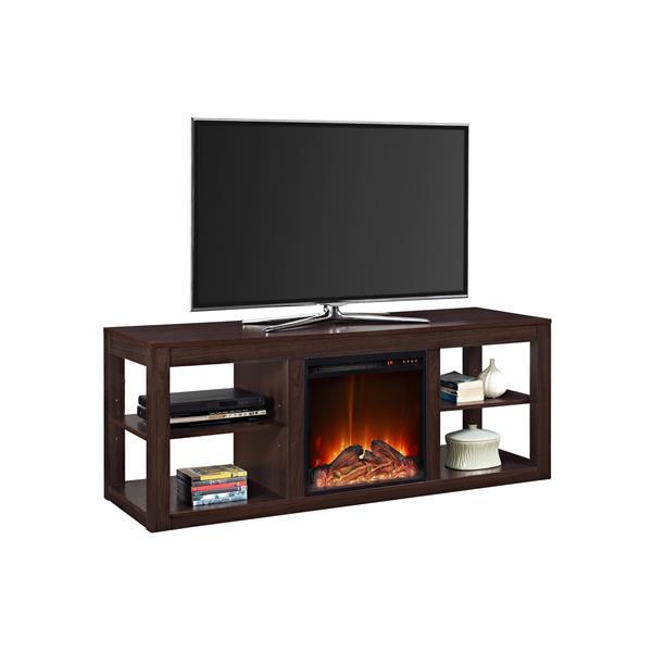 meuble tele parsons avec foyer electrique integre espresso