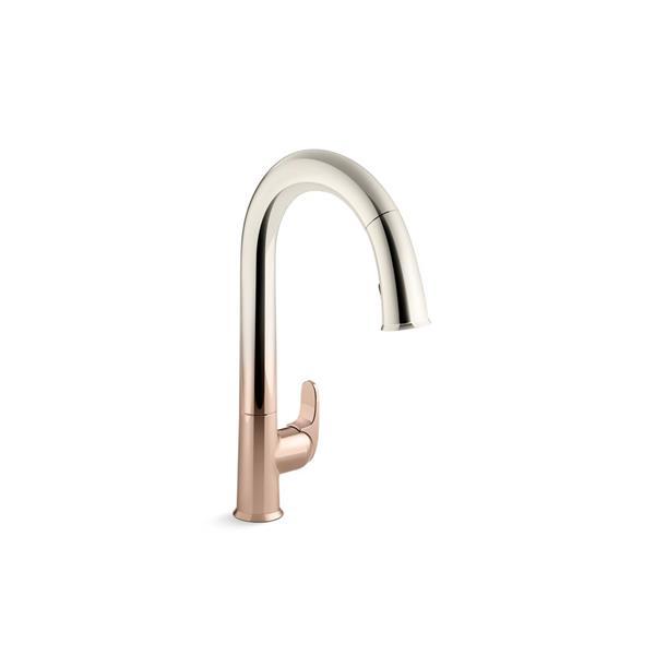 kohler sensate pull down kitchen sink faucet 1 handle rose gold polished nickel