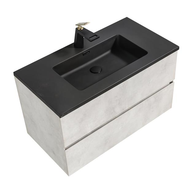 Gef Sadie Bathroom Vanity Quartz Top 36 In Grey Edg36g Reno Depot