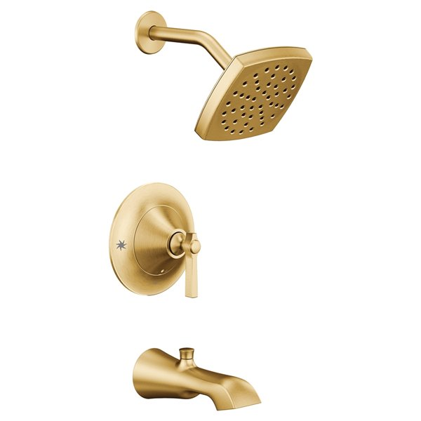 moen flara posi temp tub shower faucet brushed gold valve sold separately