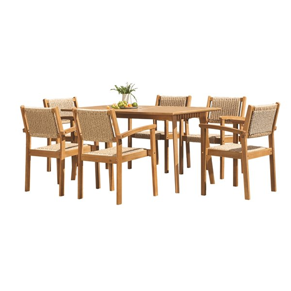 vifah chesapeake patio dining set wood brown 7 pieces