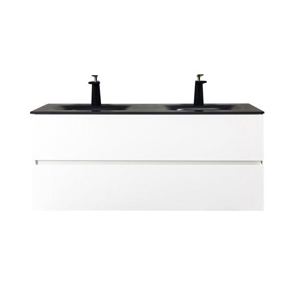 gef elice 48 in double sink white bathroom vanity with black quartz top