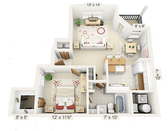 furnished apartment floor plans