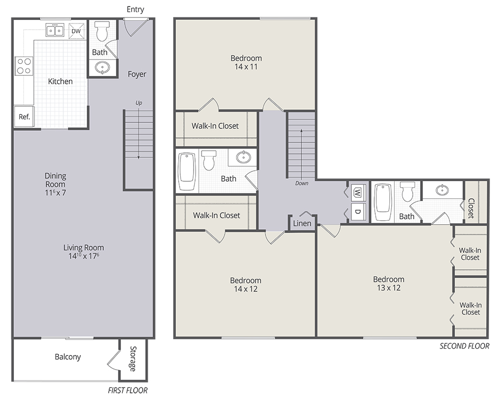 2 & 3 bedroom townhomes and 1 & 3 bedroom apartments in