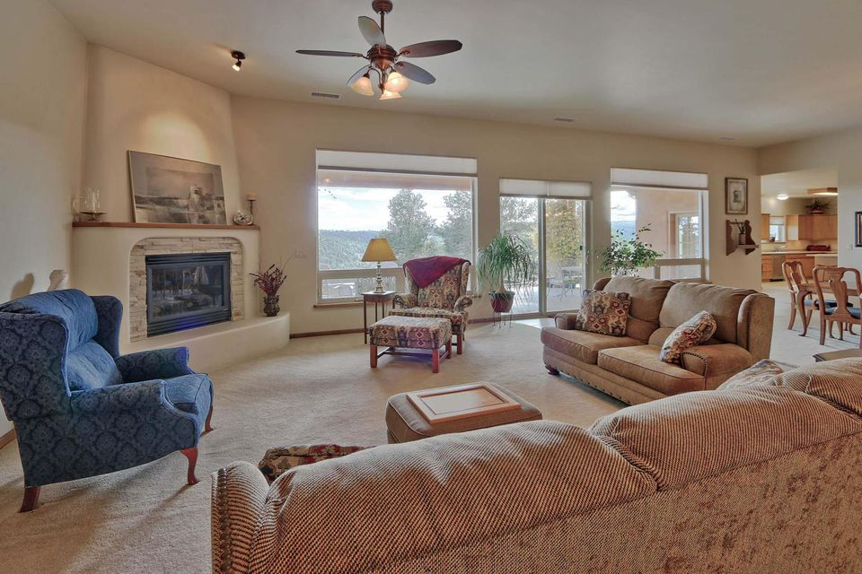 Breathtaking views! This is the builder's own dream home that backs the Open Space. Relax on the large covered patio or by the huge picture windows or 2 fireplaces. This open floor plan is perfect for entertaining family & friends. The master suite has a bay window to enjoy the views and a fireplace. The kitchen has LOTS of counter space, storage, + full-size refrigerator & freezer, plus the island. The laundry room has a convenient pass-thru to the master closet. Stay cozy with your radiant floor heating or forced air plus REFRIGERATED AIR. It has an OVERSIZED 3 car garage. Check out detached 702 sqft WORKSHOP with its convenient overhead garage door. This home comes with privacy, a secluded driveway, views & pride in ownership. It captures the essence of the outdoors and is a Cream Puff!