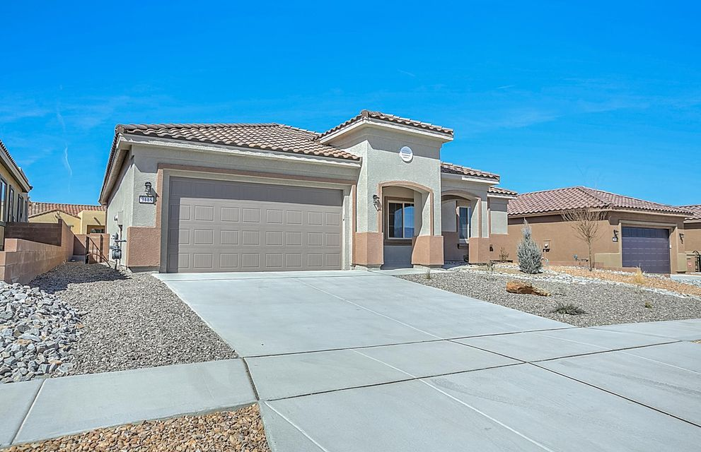 OPEN FOR SHOWINGS TODAY! Invest in yourself by growing socially and physically in a Del Webb community. The Sandia Amenity Center offers a fitness center, sports courts, swimming pool with beach entry, lap lanes & volleyball court, billiards and movement room, heated spa with kiva fireplace & so much more! Our full-time Lifestyle Director coordinates regular social events, clubs, classes & outings. This brand new, never lived in home offers new appliances, carpet, tank-less water heater, roof, windows - everything! The Pursuit plan features an inviting entrance with a bright, open concept. This home is finished with granite counters, maple cabinets, built-in appliances, elegant owner's bathroom, outdoor fireplace on the covered patio, bay windows, and tile flooring to name a few.