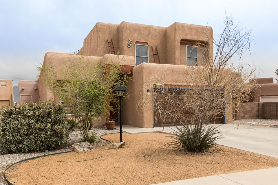Breath taking views of the Sandia Mountains, Bosque and City Lights included in this Tiffany Home that sits on the bluff above Corrales. This home has so much to offer with 4 bedrooms plus an office, formal living and dinning room, kitchen with center island and granite counter tops, Kitchen is open to the family room. Beautiful Gas Kiva Fireplace in the family room, ceiling fans in most rooms with the exception of the formal dinning room. Covered rear patio and a deck off the master bedroom to enjoy the view. Seller is offering a $2,300 carpet allowance and $1,000 appliance credit.