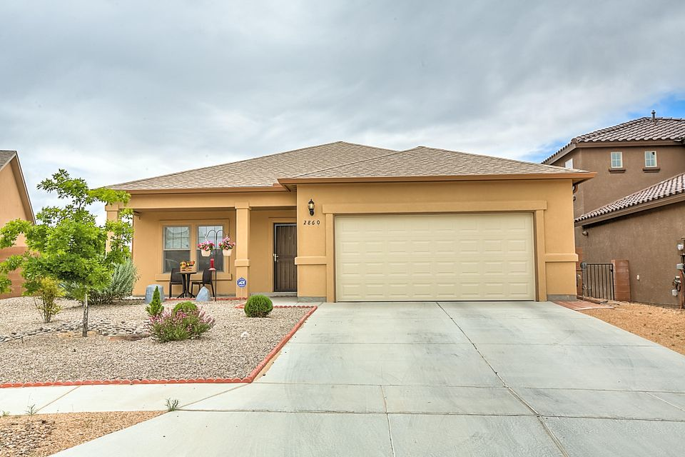 Welcome home to this wonderful, energy efficient one story home with many upgrades. Large open floor plan features a huge living room, 3 bedrooms, 2 full baths, ceiling fans, 2x6 construction, an air purification system, newly installed front and back landscaping with covered patio, and more. Situated in a desirable area of Cabezon, close to shopping and other amenities, including a community pool, walking trails and parks. Schedule a showing and make this your home today!