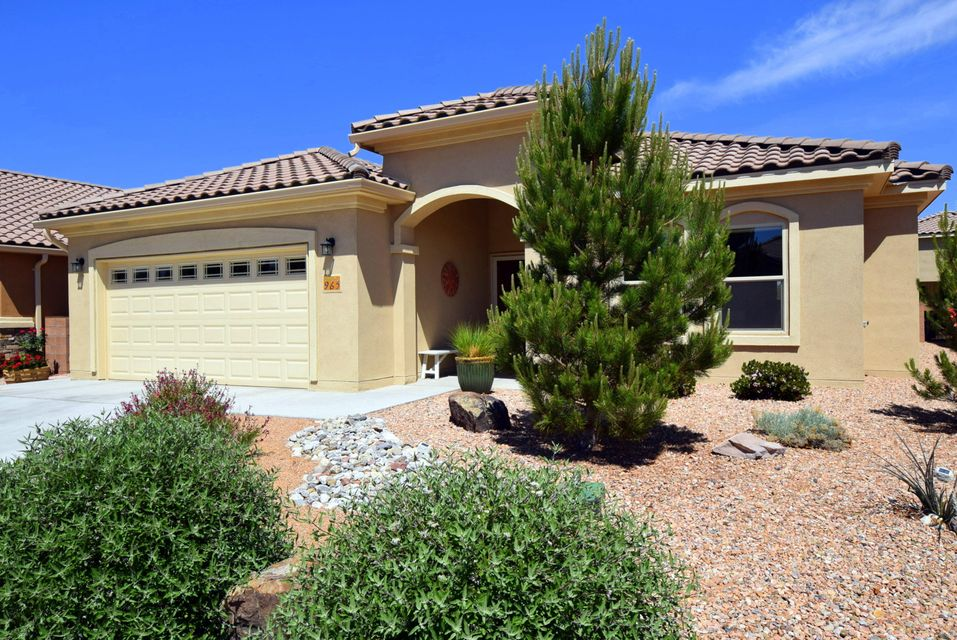Welcome to this lovely home nestled along the Bosque Preserve in NM's premier 55+ active adult living community by Del Webb.  The open floor plan is ideal for easy living and entertaining.  Enjoy 2 large bedrooms with generous walk-in closets plus a substantial office/optional 3rd bedroom.  Prepare fabulous meals in the gourmet kitchen with granite counters, gas cooktop, built-in wall oven and microwave, center island and walk-in pantry.  Relax and enjoy your casual meals in the informal kitchen dining area which looks out at the stunning Sandia Mountain range. You will enjoy ultimate tranquility in the backyard surrounded by beautiful landscaping and trickling water from the pond.  The enormous pack patio is well protected from afternoon sun!  Move in and start enjoying your retirement!
