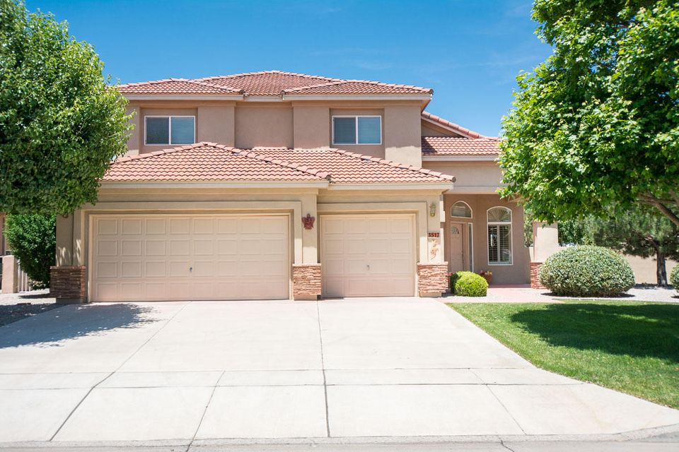 Stunning ONE OWNER! This beautiful home will fit all needs. Impeccable condition*high end amenities*Gourmet kitchen with gorgeous granite, black appliances, double oven, pantry, breakfast nook and more. It opens to large family room and grandiose patio area. One bedroom down with a full bath. Formal living and a formal dining area to accommodate family gatherings. 2 large bedrooms + a loft upstairs. Master suite with luxurious bath and 2 sided fireplace. View deck to see our Sandia mountains. Fully landscaped front and back. Fresh paint on the interior and fresh stucco. New furnace in May.Stacked stone adds dimension and desirability. Wonderful location close to parks, schools and shopping in the heart of the High Resort neighborhood where lots are larger and you have space between neighbo