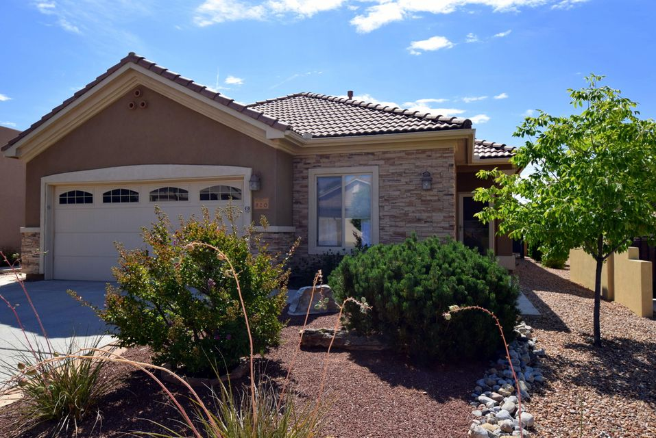 Charming home with outstanding mountain views in New Mexico's 55+ active adult community by Del Webb.  Two bedrooms with walk-in closets plus den/office.  Stacked stone accents on the front of the home adds elegance to the stucco exterior.  New carpet in the great room, den and bedrooms.  Skylights, ceiling fans and fabric window shades throughout.  Niches and plant ledges allow you to highlight your artwork and collectibles.  All appliances including washer/dryer are included for your convenience.  Instant hot water, water softener and filtration system.  The backyard is a lovely private retreat with mature landscaping, extended patio, gas stub for BBQ and INCREDIBLE Sandia Mountain views!!  Just a short walk to the clubhouse to enjoy all of the activities.  Clean and ready for new owner!