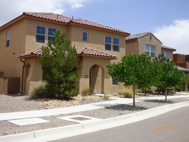 WOW!! Great community, Well cared for, very clean, and has a community pool, park, and play area. This is the popular Mesa Del Sol subdivision, it is close to the ABQ Studios, and  is conveniently located just minutes from I-25, UNM, Downtown, and Kirtland Air Force Base. MOVE-IN READY! This 2 story, home has 3 living areas, 3 bedrooms, a fireplace, and an open kitchen WITH GRANITE COUNTER TOPS. The 2 car garage is conveniently located and accessed from the back of the property, with a beautiful breezeway to the home.