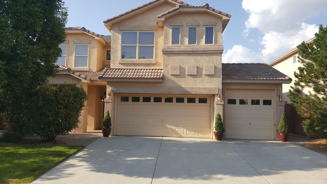 This dream home in the desirable Desert Vista subdivision boasts more upgrades than most. Home is spacious with three family areas as well as 4bd, 3ba, 3ga. The kitchen has plenty of space along with an island for prep work. Stainless steel appliances and plenty of cabinetry aim to please. The master suite is located on the second floor. Bath features a garden tub and a large glass shower, dual sinks and a walk-in closet. Three additional bedrooms and a loft upstairs are spacious and have spectacular views of the Sandia Mountains. Fully landscaped front and the backyard is equipped with sprinklers and bubblers on auto timers. Custom security side gates and an oversized patio make entertaining a joy. This home is a must see!!!