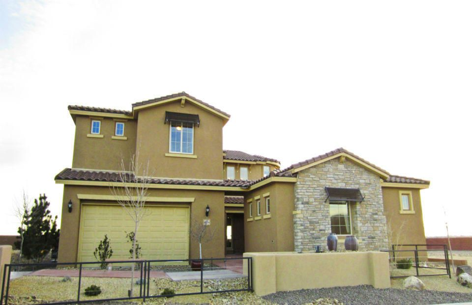 Model home for sale - new, never lived in Pulte home. The Pinon home design features a thoughtful floorplan with a large gathering room open to the kitchen. The executive kitchen is complete with granite countertops, beautiful cherry cabinets, built-in stainless steel appliances with a gas cooktop, and a cafe nearby with a bay window. The upstairs includes a rec room, loft, and four large bedrooms. A private owner's suite is located on the main level and includes a lounge area, bay window, and spa-like bathroom with his & her closets. This energy-efficient home is New Mexico Green Build Silver Certified. Energy-saving features such as a tank-less hot water heater & Low-E double-pane windows translate into lower utility bills every month.
