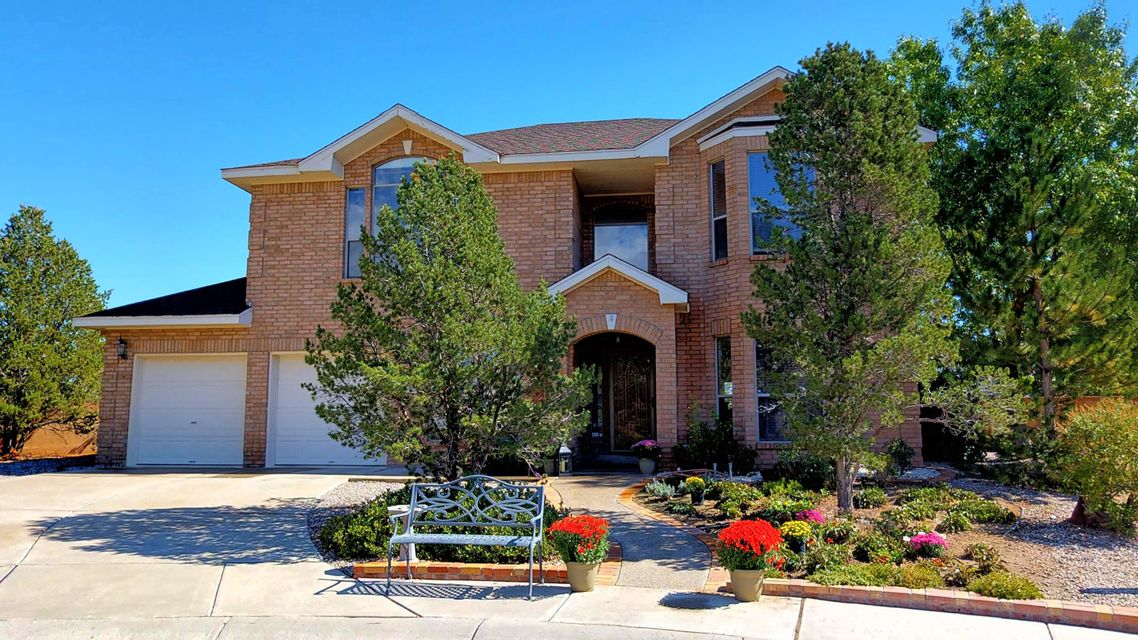 Welcome to Paradise Greens! Be sure to see the 3D tour! Room to roam in this 2 story 4 bed, 3 bath home. Two living areas, including centerpiece family room with soaring ceilings and family room. Chef's kitchen with breakfast nook. Covered patio opens to spacious backyard. Did we mention 2 offices (one on each floor) and a separate loft? Spa like Master Suite with coffered ceilings. Plus two more bedrooms share a jack-and-jill bath. Upstairs deck boasts stunning Sandia views! Located in a tranquil cul-de-sac, but close to everything. See it today.