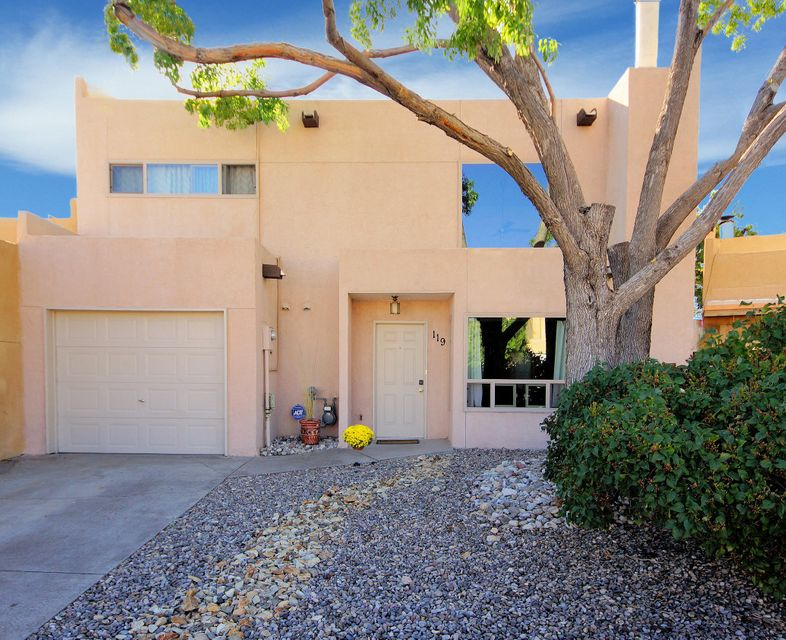 Super Updated Townhome with NO HOA fees.  Many updates to include:  Newer TPO roof through Doyle Roof Masters which has 20 years prorated warranty.  Buyer can contact Doyle Roofing for free inspections.  Last inspection was 9/17/2017.  There is a $95.00 transfer fee to new owner.  Newer Milgard windows which are warrantied for 10 years, Lennox mini split system w/ 4 heating and refrigerated air wall units w/ 3 years remaining on the warranty, painting of the entire interior, carpet and floors redone (except kitchen), stucco was colored and treated with El Rey product, newer toilets/ 2015, newer Southwest lighting fixture in dining, three wall sconces and 2 newer ceiling fans/2015.Living has high ceiling, wood burning fireplace for those cold chilly nights and Views of the full moon comin