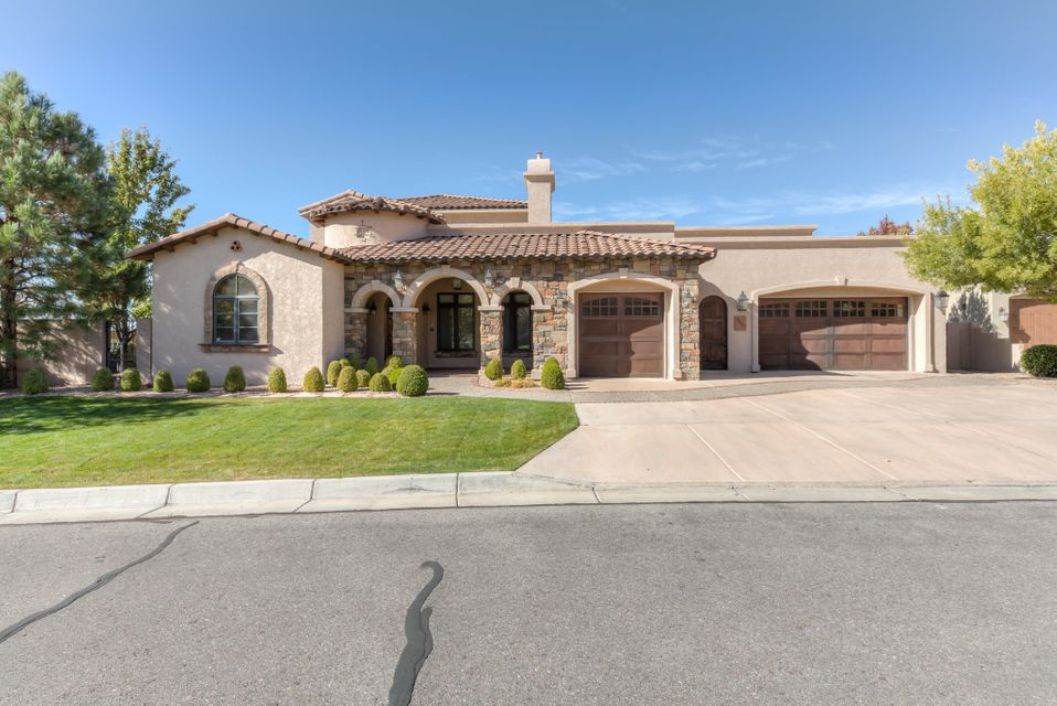 Custom Tuscan Joseph Home- Former Parade Winner, this 4500sqft home is Spectacular! Luxurious amenities exude; kitchen w/ 2-toned custom cabinetry, wolfe & subzero appliances, pot filler, Miele built-in cappuccino machine, walk in pantry, diamond plaster, wood windows & doors, radiant heat & refrigerated air! Master bedroom + office + gym/play room on the main level, 3 additional guest bedrooms upstairs. 2 laundry facilities + mud room. Outdoor fireplace, in-ground gunite pool, oversized covered patio, dedicated pool bathroom & perfectly manicured dog run. All the bells & whistles! Located on a corner lot with incredible views in the highly desirable Primrose Pointe neighborhood! Close to excellent schools, open space walking trails, neighborhood park & easy access to Paseo Del Norte!