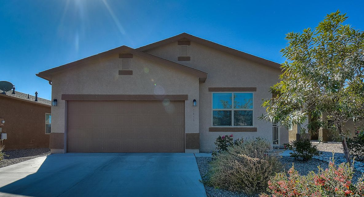 Come home to this beauty! With 3 spacious bedrooms, 2 bathrooms, lots of natural light, and REFRIGERATED air, you will not be disappointed! Open living and kitchen areas. Kitchen boasts lovely dark wood cabinetry with crown moulding, sleek black GE appliances, and lots of space to cook and entertain! Enjoy Rio Rancho's beautiful weather in the fully landscaped front and back yards. In the private, walled back yard enjoy a relaxing barbecue with family and friends, while also enjoying the beautiful mountain views. Come check out this great home in a nice quiet neighborhood before it is gone!