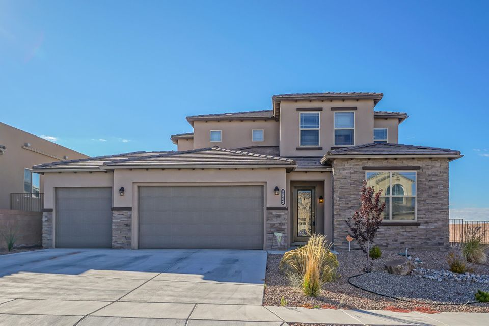 ''Like New, Award Winning Floor Plan Home in highly sought after Cabezon.  This 3,133 sq ft,  5 bedroom/3 bath Thomason floorplan has it all!  Corner lot, 3 car garage and all the upgrades you could want. Entertain in style and greet your guests with a spectacular 2 story open living room with brick fireplace and wall to wall sliding glass doors.  The executive chef's kitchen will impress your guests with built in appliances, quartz countertops and upgraded cabinetry.  The downstairs owner's suite situates privately in the back of the home and includes a convenient en-suite laundry room.   Additional bedroom on the first floor with a full bath.  Upstairs a good sized loft and 3 additional bedrooms. Green built and HERS rated.  Don't miss out on this stunning home!''