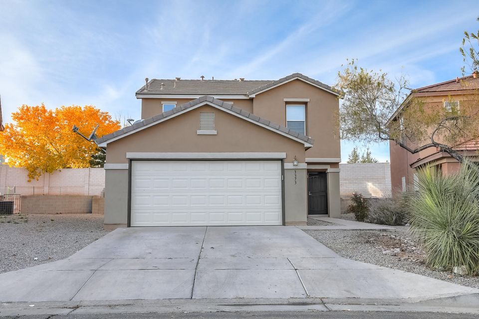 Updated 3BR+Den (Possible 4th BR) in the ever popular gated community of Chamisa Greens in central Rio Rancho.  This 2 story home has modern updates including:**Engineered wood in living room and kitchen**Granite countertops**Modern kitchen island and buffet**Stainless steel appliances including gas 5 burner stove**Remodeled master bathroom with custom walk in shower and granite topped vanity**Vessel sink in downstairs 1/2 bath**Private den with french doors**.  This home has central refrigerated air conditioning and is centrally located, close to schools, shops and restaurants.  Come see this home today!!
