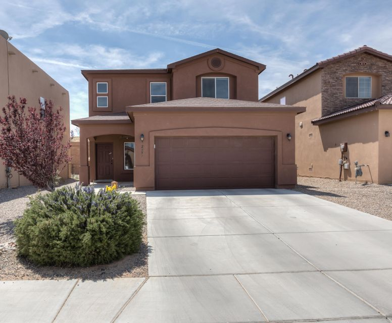Come view this nearly brand new, move in ready three bedroom, 3 bathroom Raylee built home in the convenient Hidden Valley neighborhood of Rio Rancho.  The open floor plan with plenty of natural light includes a spacious kitchen with beautiful backsplash, plenty of cabinet space, pantry, and a breakfast bar. The Kitchen opens up to a large living room and dining room to create a great open space for your family. A large upstairs loft would be great for office or media room.  Enjoy stunning mountain views from master bedroom balcony. Fully landscaped front and back including a low maintenance xeriscaped front yard and a beautifully landscaped backyard perfect for entertaining.  This like new home includes refrigerated air and other updated features of newer homes.  Come see today.