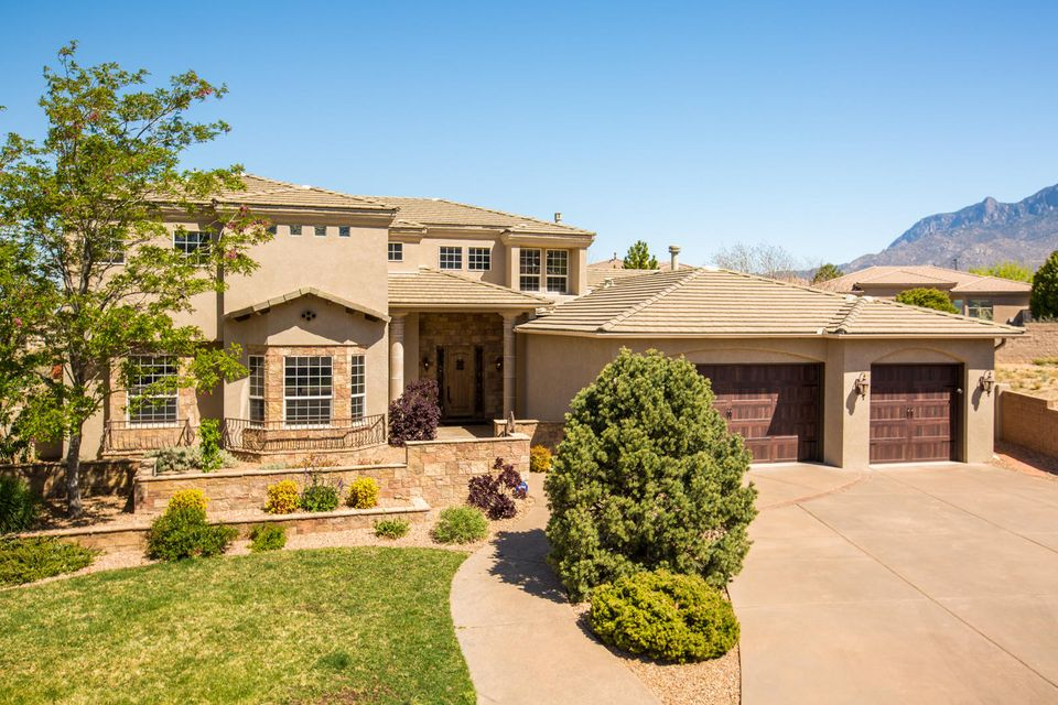 Don't miss this elegant home by Rutledge Homes in 'The Canyons' gated community in High Desert! *BACKS TO OPEN SPACE, with spectacular city & mountain views! Gorgeous courtyard entry & a wall of windows welcome you to this light & bright home. Gourmet kitchen boasts custom cabinets, Viking, Wolf, & Subzero appliances. Gather around the island, enjoy the views from the nook, join the cook at the built in grill, or grab a drink at the wet bar. Indoor/outdoor living & entertaining are a dream at this house~ so many wonderful spaces to enjoy! Or, cozy up to 1 of 3 lovely fireplaces & enjoy the serenity of this home. Private master retreat features a huge walk in closet, coffee bar, bath with jetted tub & steam shower. Tons of storage throughout. Too many features to list. Welcome home!