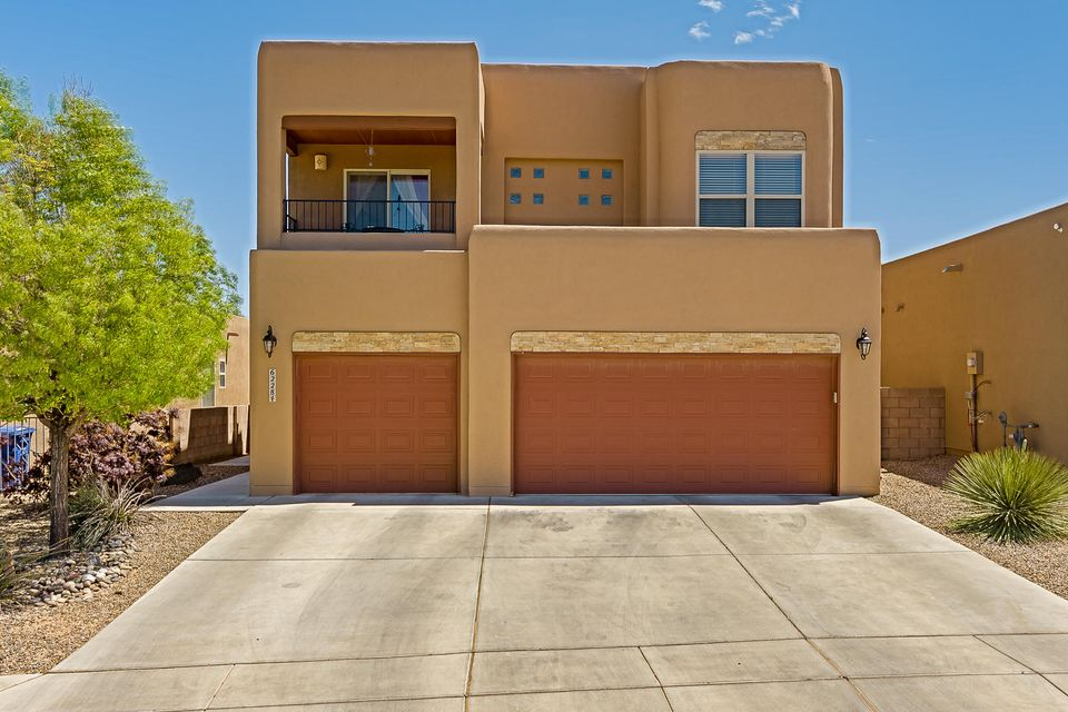 Look no further! Stunning Stillbrooke home in desirable NW neighborhood.  Enjoy the unique ABQ sunsets off the Sandia mountains, perfect balloon fiesta VIEWS or relax and take in the city lights on the front deck! This home boasts of custom tile work in the living room, high ceilings with wood beams, Kiva fire place and an inviting open concept perfect for entertaining. Kitchen features granite counter tops, SS appliances, upgraded custom cabinets, gas range and an island perfect for the chef in you. Master bedroom and office on the 1st floor! Master bath includes garden tub, double sink, and lots of closet space. Upgraded oak staircase leads to an over sized loft. Enjoy the backyard with sandbox for the kids, fire pit and a privacy fence. Desirable 3 car garage with plenty room to space.