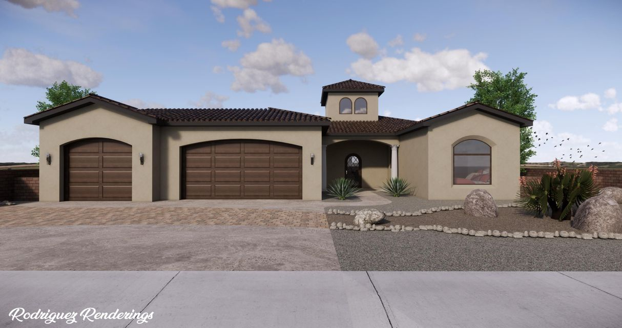 Brand new Enchanted Custom Homes beauty under construction in the heart of Rio Rancho on a large .50 acre lot with mountain views! No HOA! Home features 2,314 sf with 3 bedrooms, 2.5 bathrooms and a 3 car garage! Great open floor plan with raised ceilings! Spacious living area with custom gas fireplace with a cultured stone surround! Chefs kitchen with upgraded cabinetry, built-in oven/microwave, commercial style cooktop,granite countertops, huge kitchen bar with seating area, backsplash and a custom range hood. Dining area right off of the kitchen. Beautiful over-sized master suite with private bath. Bath hosts dual sinks with granite top, large garden tub, walk-in shower & closet!  Covered patio & RV parking available in the front! Interior selections can still be made before June 15th!