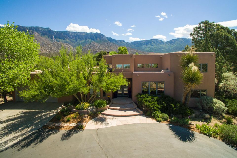 Imagine living in one of the most beautiful homes in Sandia Heights, built by one of the best Custom Home Builders, featuring an award winning remodeled kitchen (great for entertaining), a resort style backyard with a gorgeous pool, hot tub, fireplace, and yard, complete with an incredible unobstructed view of Sandia Peak! Dreams do come true with this immaculate 4BR Masterpiece, including a huge private Master Suite, spacious office/library, and a quite cul-de-sac street. You won't want to leave..