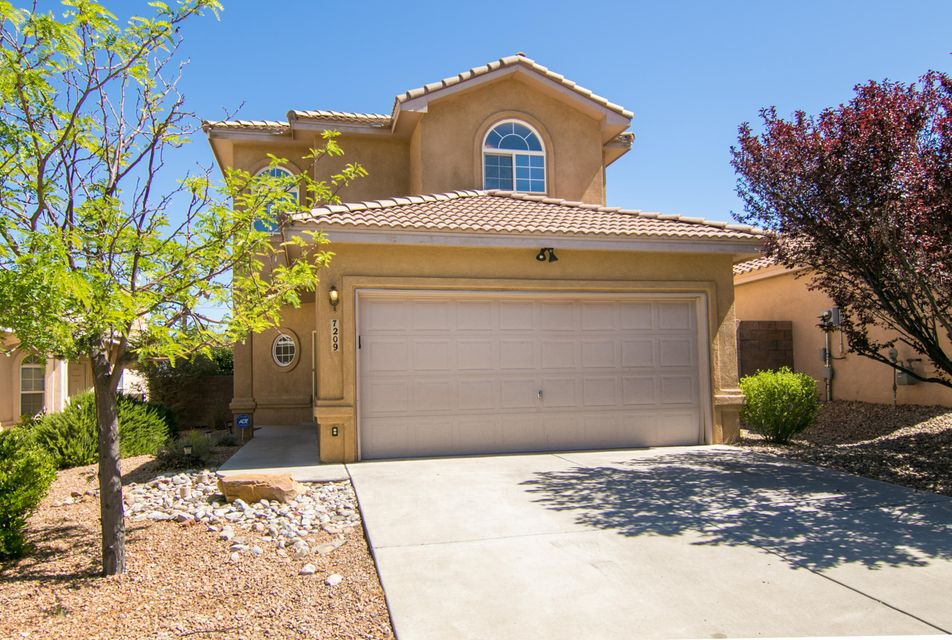 Well maintained home in the La Cueva school district, close to shopping, dining, entertainment, parks and walking trails, and easy access to Paseo Del Norte and Alameda.  This inviting home features a light and bright  open floor plan and features a fireplace to anchor the large main living area.  The open kitchen provides extra counter space with a kitchen island, and includes a pantry and breakfast nook looking out onto the back patio. In addition, the upstairs master suite features a private balcony with mountain views. The private backyard features a covered patio great for entertaining, with low maintenance landscaping both front and back.   New carpet was also replaced throughout the home in October 2017.  This home is a must see!