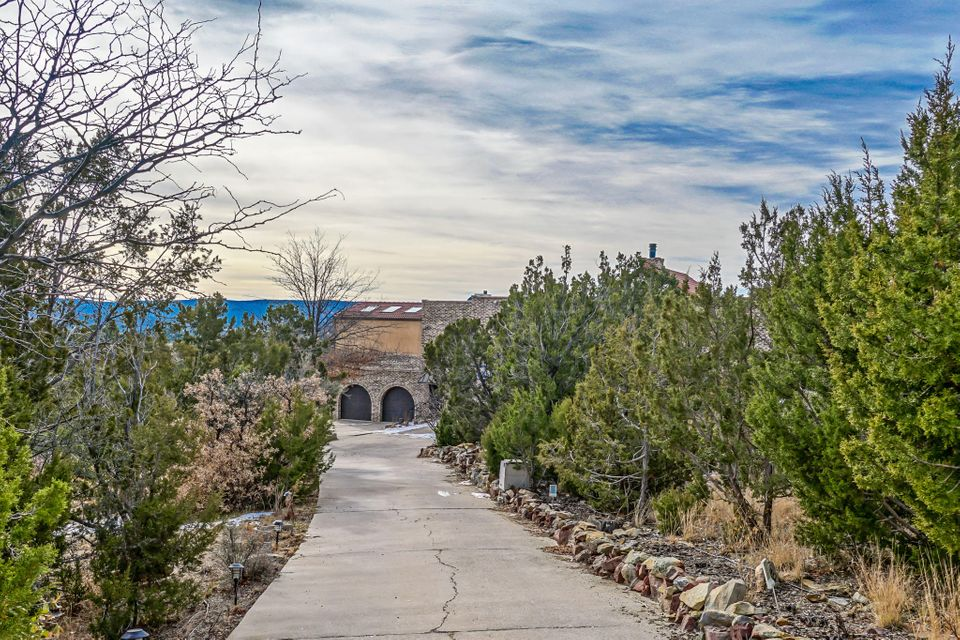 Motivated seller says ''Will entertain all offers'' Already an Amazing $ per Sq ft deal.A little TLC still needed but the ''big ticket'' items are done!Located in the heart of The Sandia's on 4.6 acres. Huge mountain retreat 5 minutes to the Ski Area but only 12 min to ABQ city limits and Sandia Labs! New roof,Updated kitchen and baths. Soaring wood vaulted ceilings! Expensive Brick construction! Enormous Great Room with a ''Wall of Windows'' In-Law/Guest Suite withseparate entrance. Oak Paneled Library w/ Panic/ Dark room. 2 huge Greenhouses. Passive Solar radiant heated floors= low utilities. Desirable Entranosa well water.Dry Sauna! Formal 12 person Dining Room! Crows-nest lookouts! Highest quality construction designed with the true Entertainer in mind and below market value!